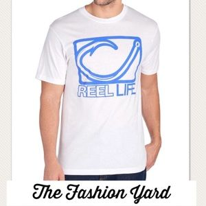 NWT REEL LIFE Hook Print Logo Tee Shirt - Large